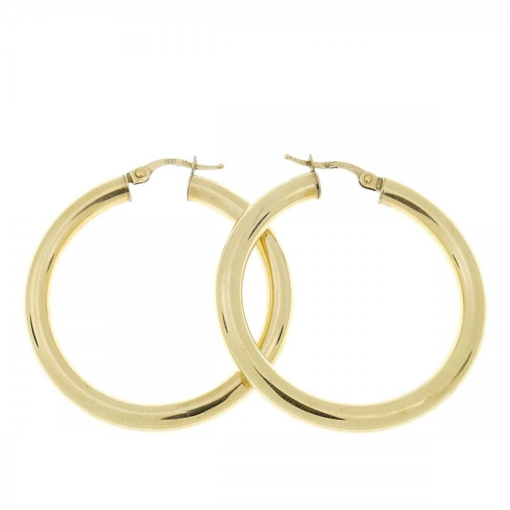 Earrings for women. Yellow gold, 585, diameter 3 cm