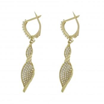 Drop earrings for woman, 14K yellow gold