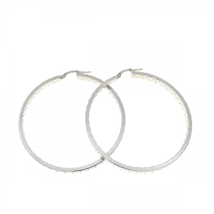 Earrings for a woman. 14K white gold, diameter 4.5 cm