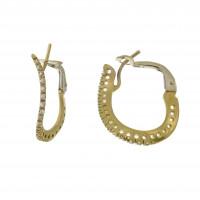Серьги для женщины, жёлтое золото 14 карат, длина 2.5 см