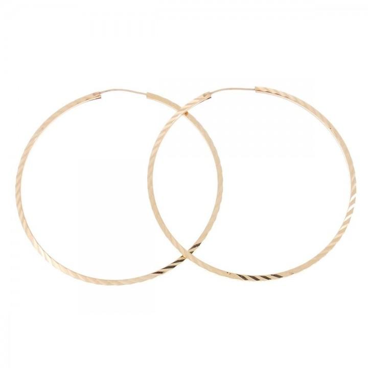 Earrings for women. Red gold, 585, diameter 5.5 cm
