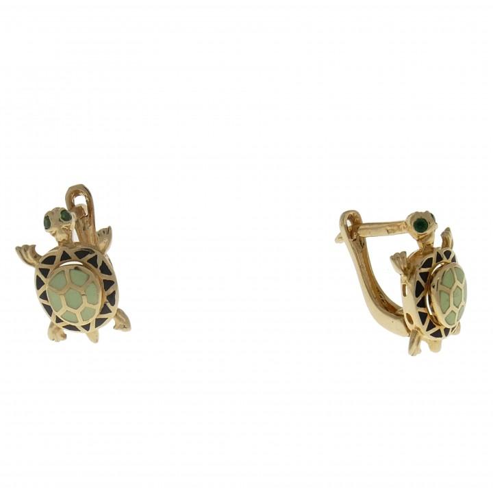 Золотые серьги - черепашки