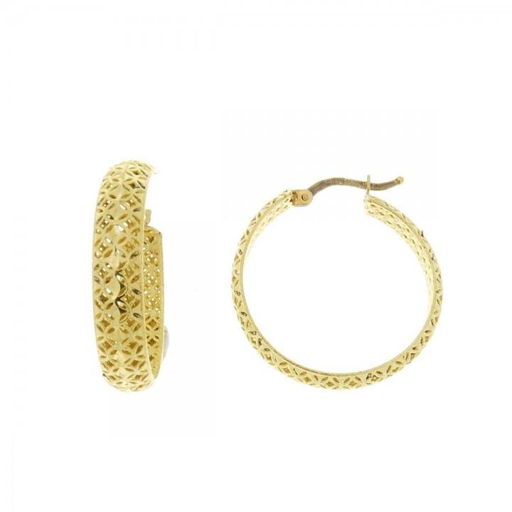 Серьги для женщины. Желтое золото, 585, диаметр 2 см