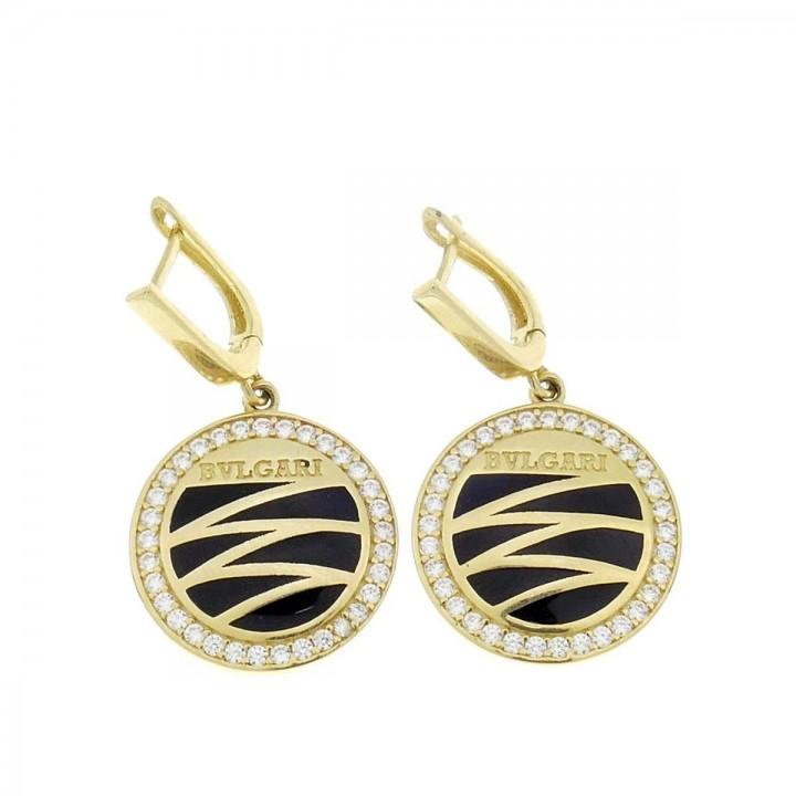 Earrings for women. Yellow gold, 585, length 2 cm