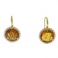 Серьги для женщины, желтое золото 14 карат с цитрином