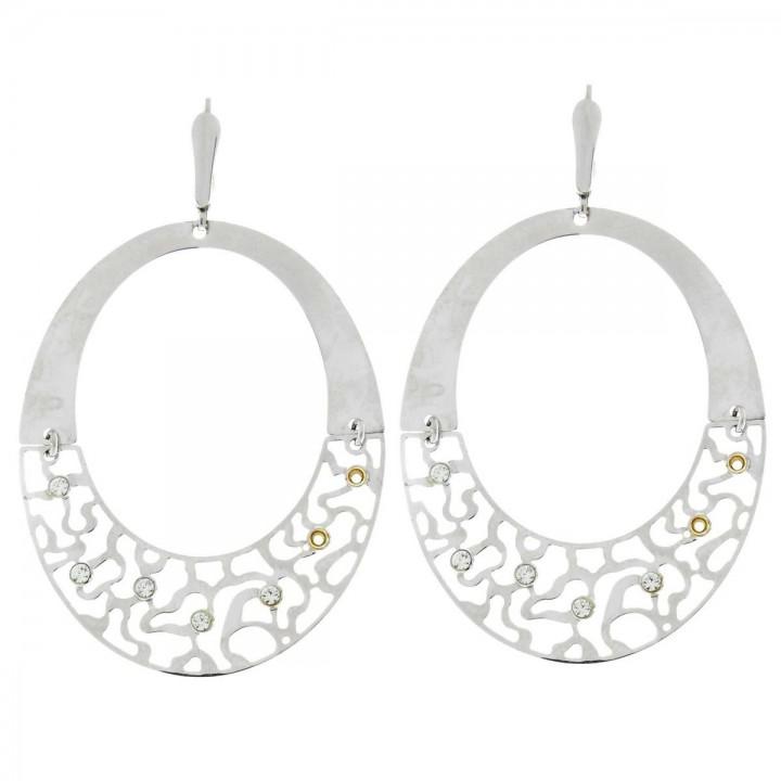 Earrings for women with zircon. 14K white gold