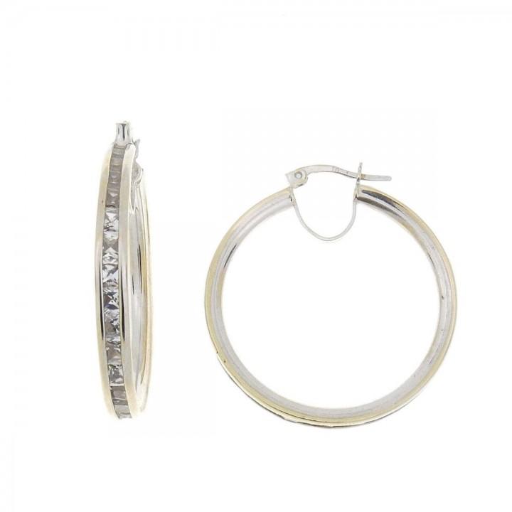 Earrings for women. White gold, 585, zirconium, diameter 3 cm