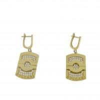 Серьги для женщины. Желтое золото, 585, цирконий, длина - 3.5 см