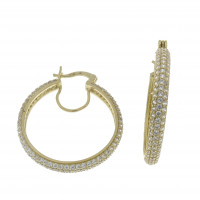 Серьги для женщины, жёлтое золото 14 карат, длина 3.2 см