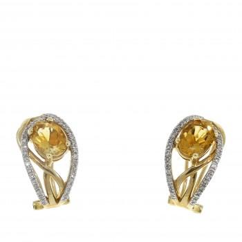 Серьги для женщины с бриллиантом и цитрином, жёлтое золото 14 карат