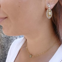 Earrings for a woman, 14K yellow / white gold with diamonds