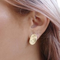 Серьги для женщины, желтое золото 14 карат с бриллиантами
