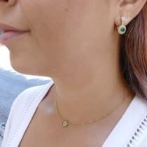עגילים לאישה עם יהלומים לבנים וזהב אמרלד, צהוב