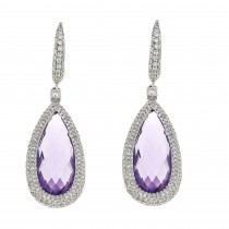 Gold earrings with white diamonds and amethyst, 14K white gold