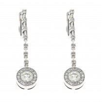 Earrings for a woman, 14K white gold with diamonds