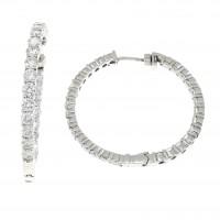 Серьги для женщины, белое золото 14 карат с бриллиантами