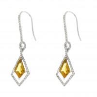 Золотые серьги с бриллиантами и цитрином, белое золото 14 карат
