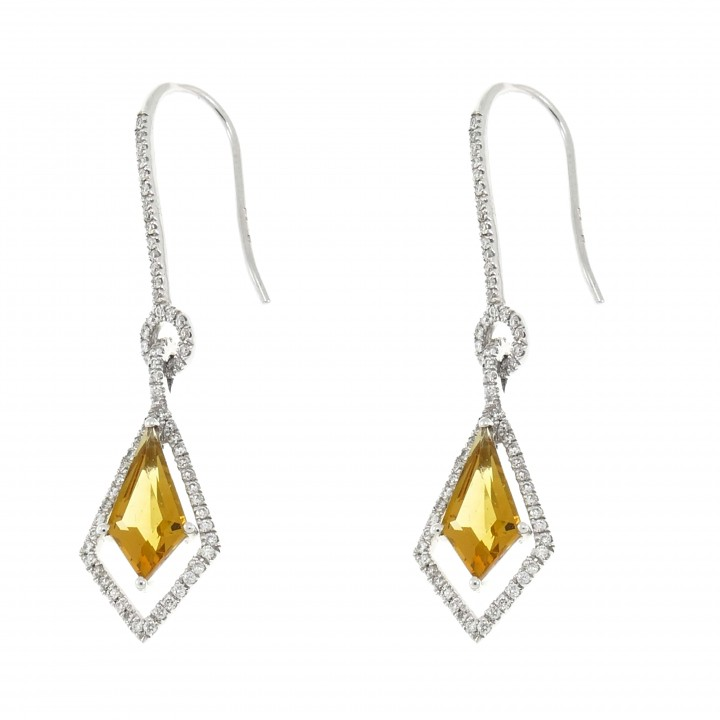 Gold earrings with diamonds and citrine, 14K white gold