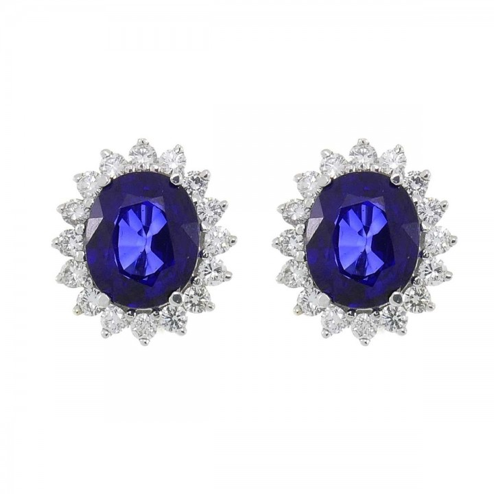 Gold earrings with white diamonds and blue sapphire, white gold