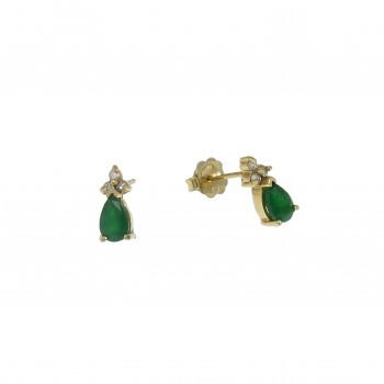 Золотые серьги с бриллиантами и изумрудами, жёлтое золото 14 карат