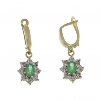 Золотые серьги с бриллиантами и изумрудами, желтое золото 14 карат