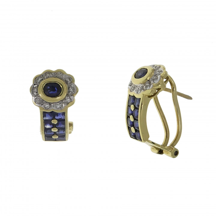 Золотые серьги с бриллиантами 0.20 карат и сапфирами 1 карат