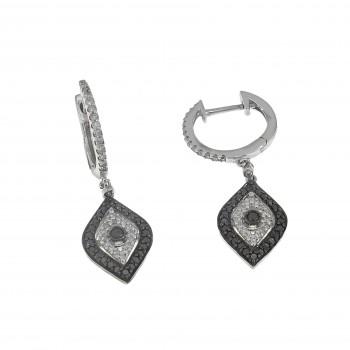 Серьги для женщины с белыми и чёрными бриллиантами. Белое золото