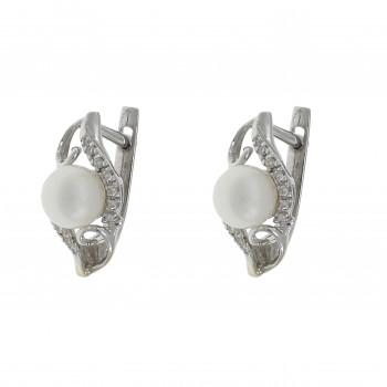 Золотые серьги с бриллиантами и жемчугом, белое золото 14 карат