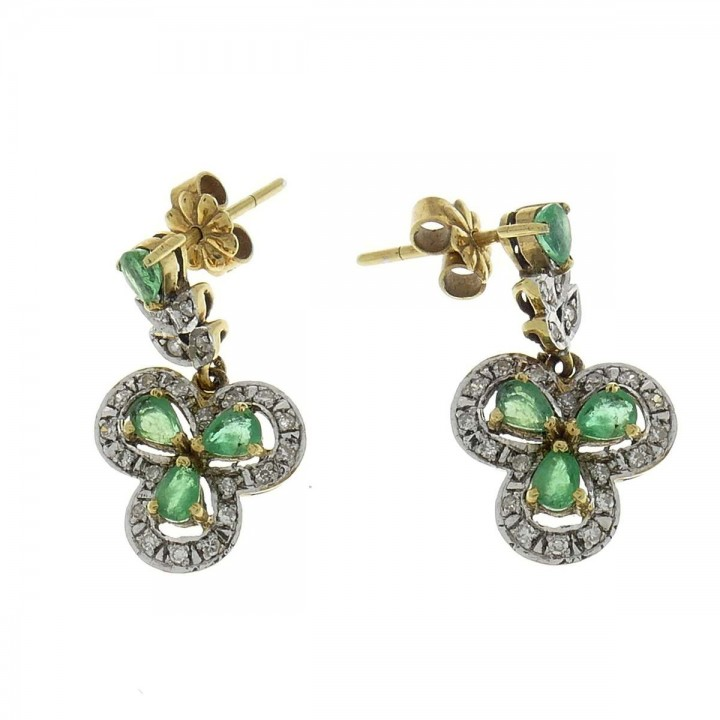 Gold earrings with white diamonds and emerald, yellow gold