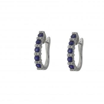 Золотые серьги с белыми бриллиантами и голубым сапфиром, белое золото