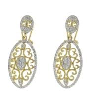 Серьги для женщины, желтое/белое золото 14 карат с бриллиантами