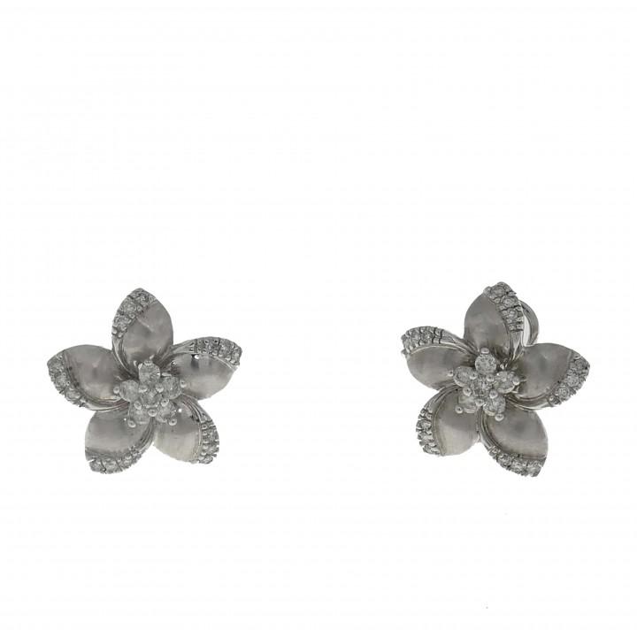 Серьги - цветок с бриллиантами 0.61 карат
