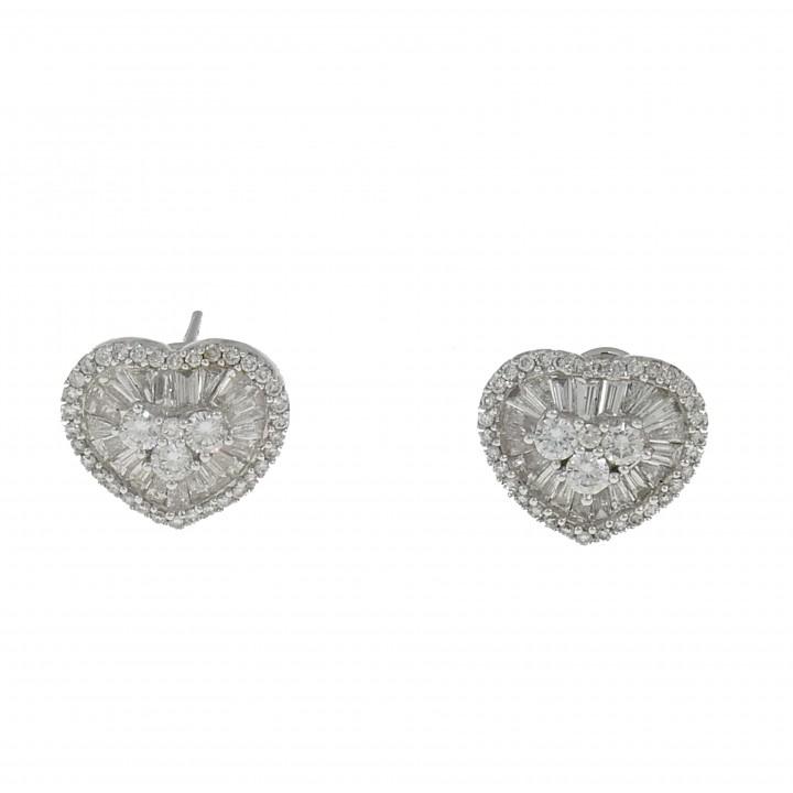Серьги - сердце с бриллиантами 2.84 карат