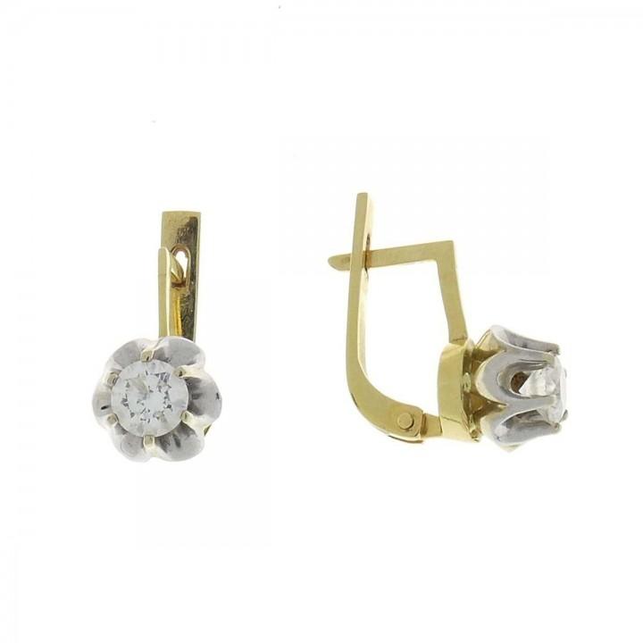 Серьги для женщины, белое и желтое золото 14 карат с бриллиантом