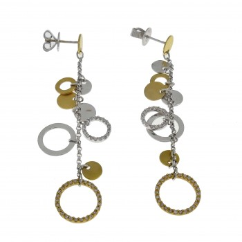 Earrings for a woman, 14K white and yellow gold with a diamond