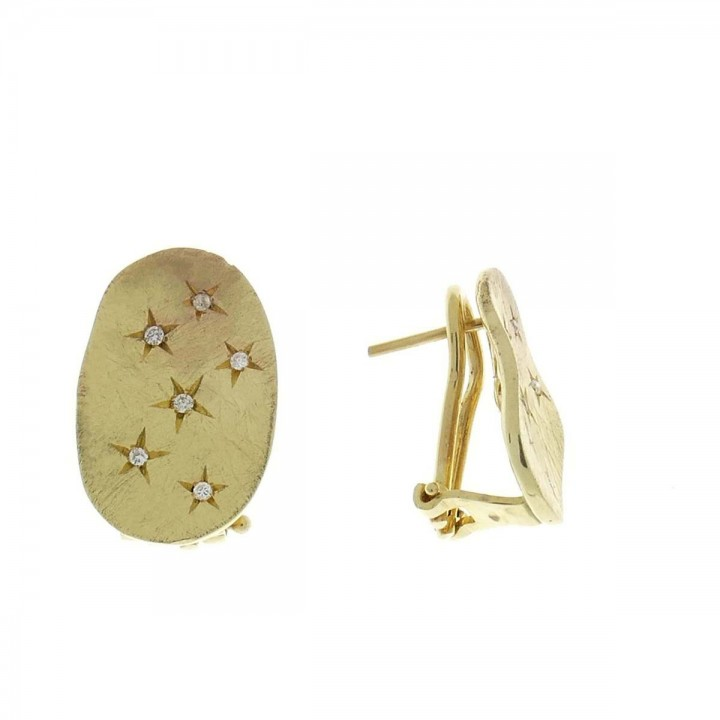 Earrings for a woman, 14K yellow gold with diamonds