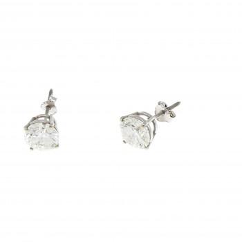 Серьги для женщины - гвоздики, белое золото 14 карат с бриллиантами