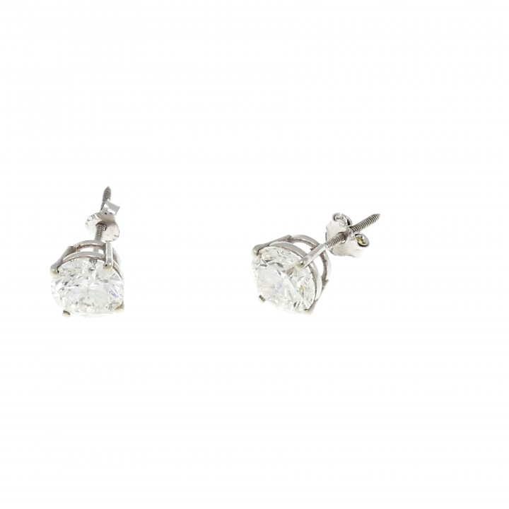 Earrings for women - studs, 14k white gold with diamonds