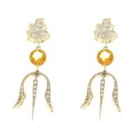 Серьги для женщины с бриллиантом и цитрином. Желтое и белое золото