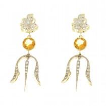 עגילים נשים עם יהלום וציטרינה. זהב צהוב ולבן