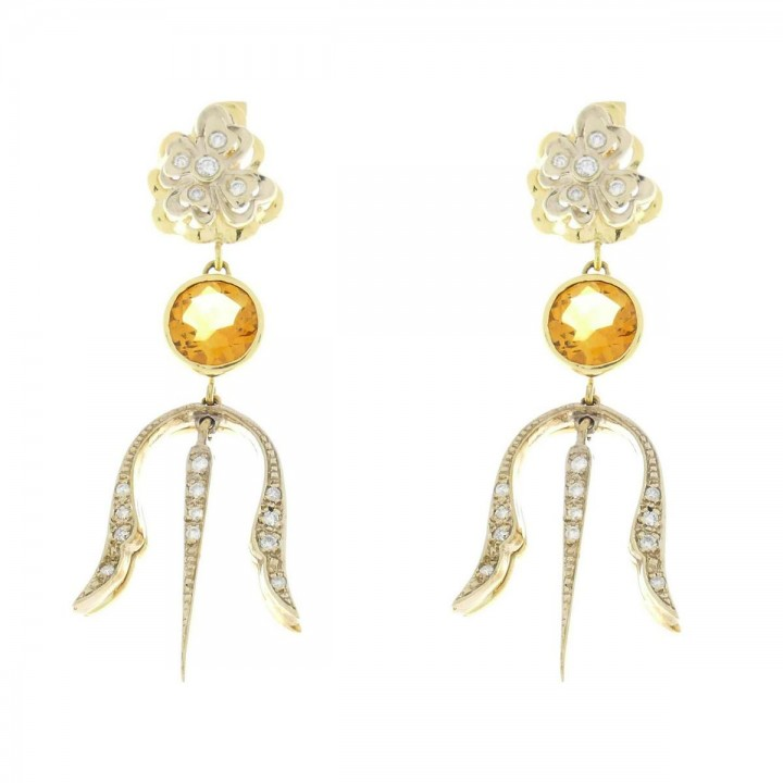 Women's earrings with diamond and citrine. Yellow and white gold