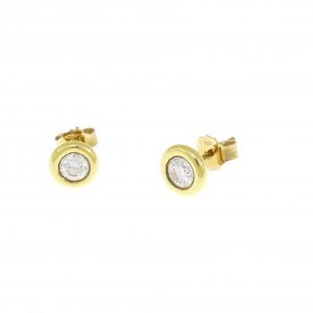 Серьги для женщины - гвоздики/пусеты, желтое золото 14 карат с бриллиантами