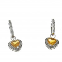 Серьги для женщины с бриллиантом и цитрином. Белое золото 14 карат