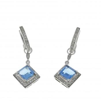 Золотые серьги с белыми бриллиантами и голубым топазом, белое золото 14 карат