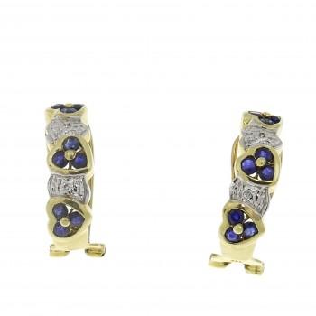 Серьги для женщины с бриллиантами и сапфирами, жёлтое золото 14 карат