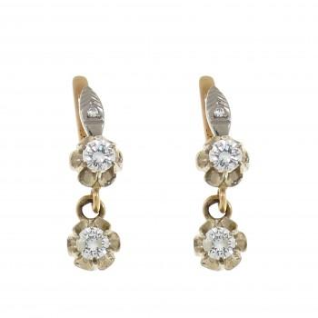 Золотые серьги с белыми бриллиантами, красное и белое золото 14 карат