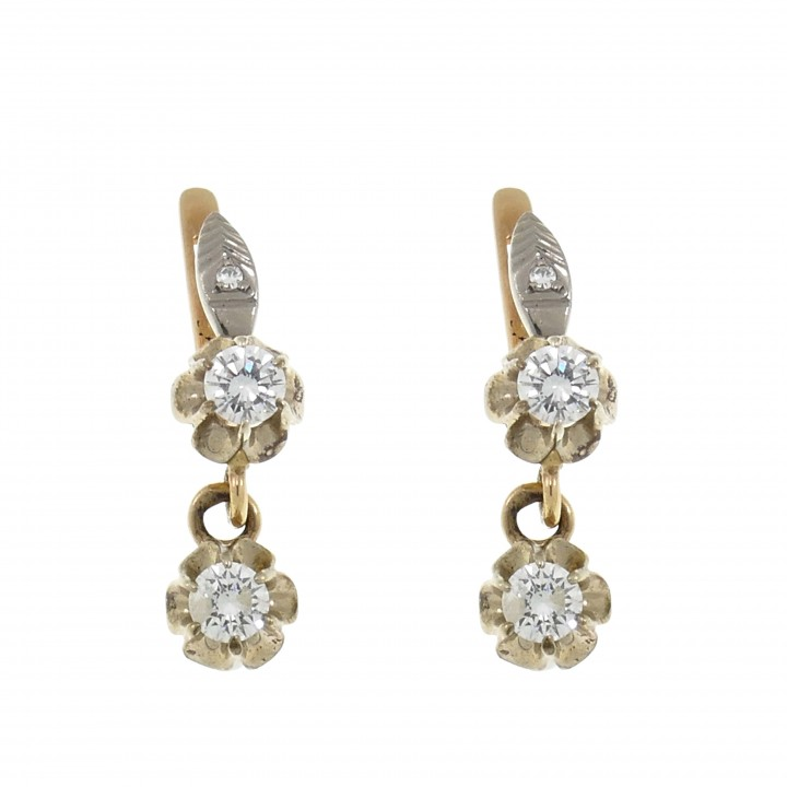 Gold earrings with white diamonds, 14k red and white gold