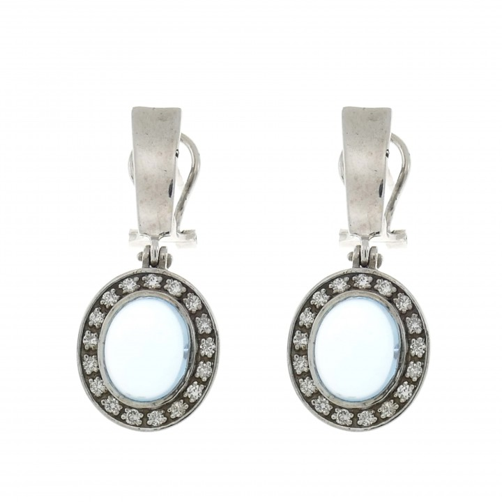 Gold earrings with white diamonds and topaz, 14K white gold