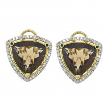 Gold earrings with diamonds and topaz, 14K yellow gold