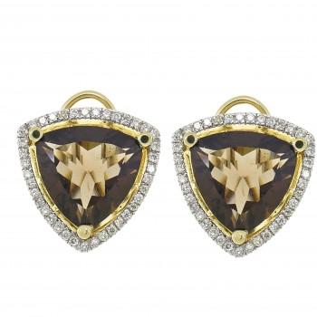 Золотые серьги с бриллиантами и топазом, желтое золото 14 карат